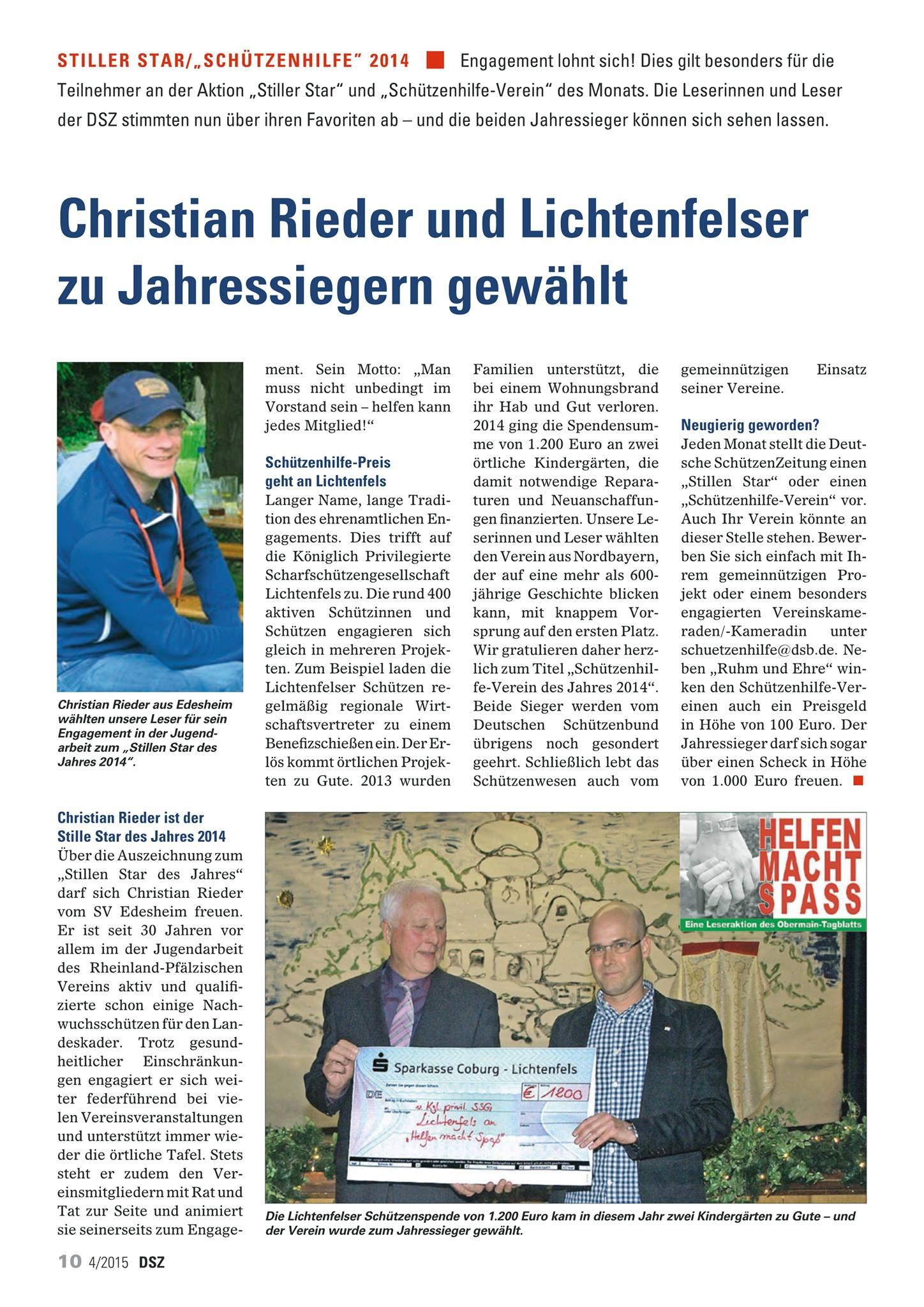 Stiller Star des Jahres 2014 Rieder Christian