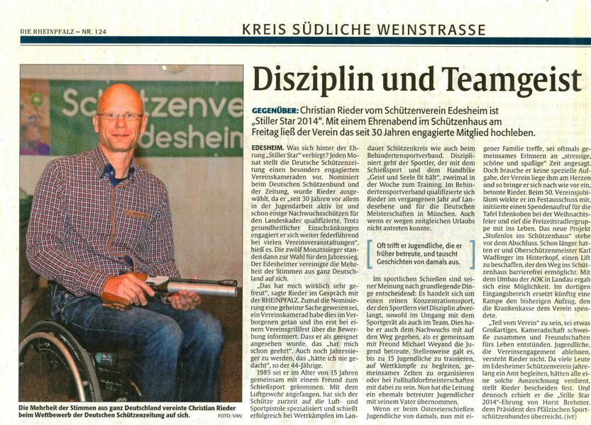 Stiller Star  2014Portrait Rheinpfalz 01.07.2015