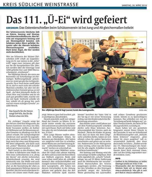 Rheinpfalz - Ausgabe vom 26.03.16
